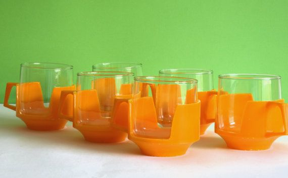 Retro Vintage JAJ Pyrex Drink Ups Yellow Coffee Cups by FunkyKoala