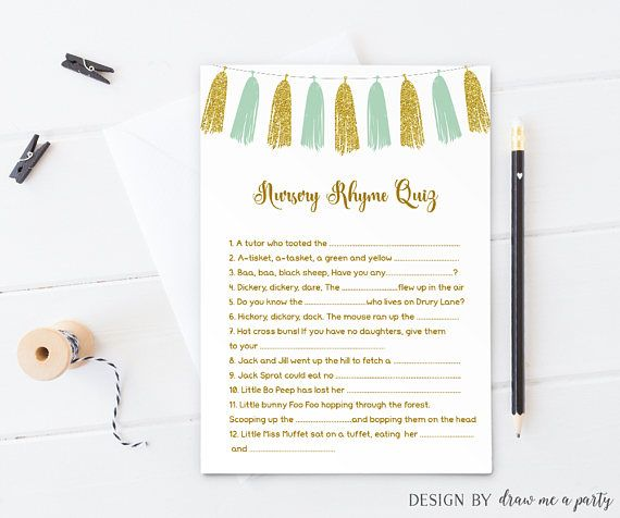 Tassel Baby Shower Games , Tassel Nursery Rhyme Quiz , Nursery Rhyme Game ,  Mint And Gold Baby Shower Quiz , Baby Nursery Rhyme