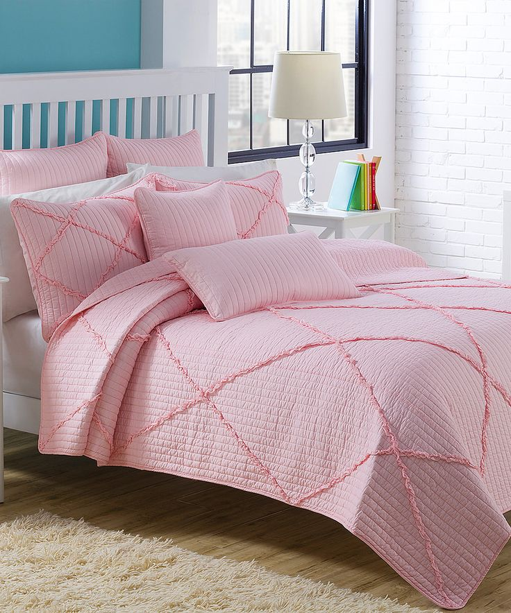 This Pink Diamond Ruffle Quilt Set by American Home Fashion is perfect! #zulilyfinds