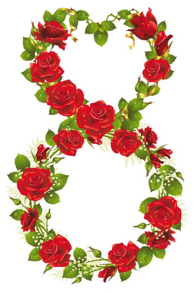 Eighth of March with Roses PNG Clipart