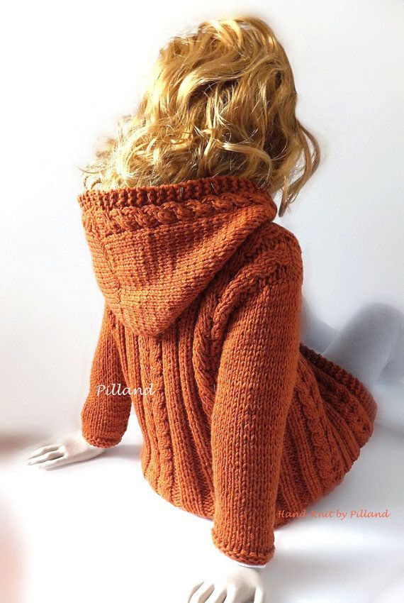 Orange Knitted Hoodie with cable pattern. Hand knitted Childrens soft wool coat sweater.   Warm and has many colors to choose from. Suitable knitwear for