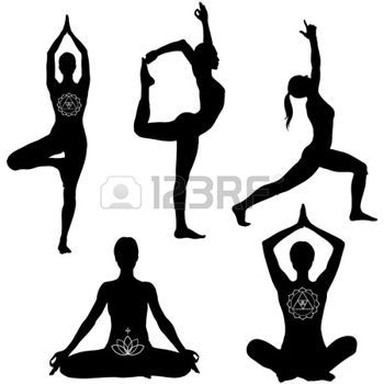 yoga silhouette: Yoga poses: lotus, lord of the dance, warrior I and tree pose. Black icon set.