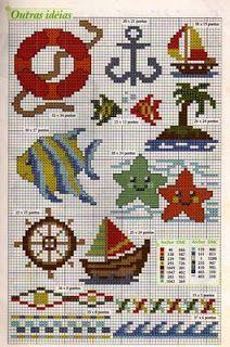Resultado de imagem para graficos ponto cruz motivos nauticos
