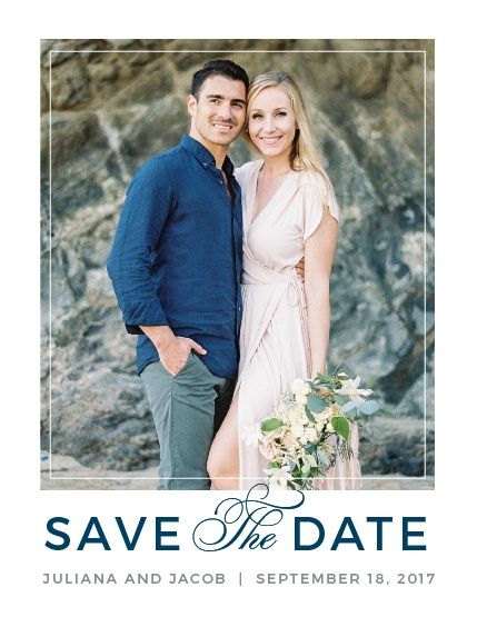 """A chic photo frame and the sophisticated fonts of the Contemporary Frame <a class=""""crosslink"""" href=""""https://www.basicinvite.com/wedding/save-the-date.html"""" target=""""_self"""" alt=""""Save the Date Cards Online"""" title=""""Save the Date Cards Online"""">Save-the-Date Cards</a> set the tone for your wedding. Customize this elegantly modern design with your names in any of our hand-picked fonts. Then change the color of the text or the background to coordinate with your unique wedding color palette. </p>"""