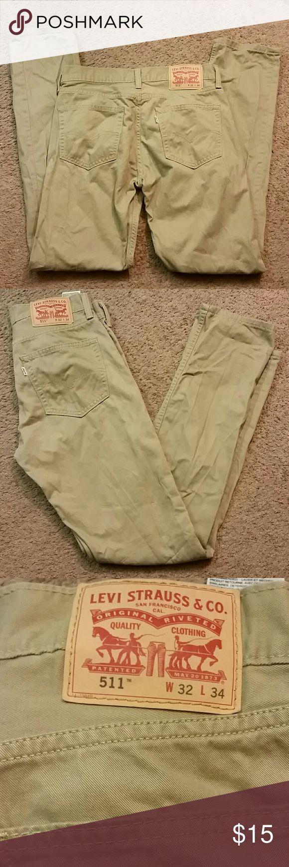 Mens Levi Strauss & Co 511 Pants 511 Skinny fitting mens tan color pants. A good buy. Levi's Pants