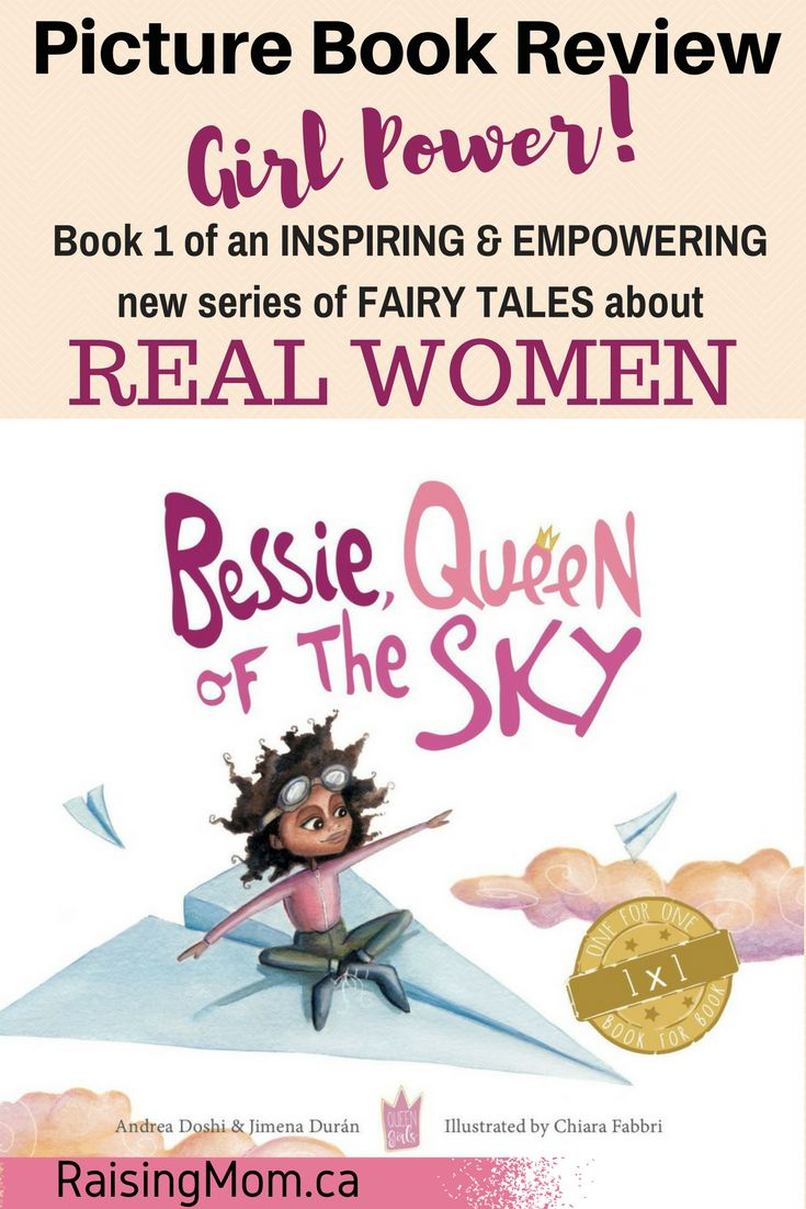 Bessie, Queen of the sky by Andrea Doshi & Jimena Duran – Book Review http://raisingmom.ca/bessie-queen-of-the-sky-by-andrea-doshi-jimena-duran-book-review/  Picture Book Review: Bessie, Queen of the Sky: STARRED REVIEW on RaisingMom.ca! - This book is inspired by the story of Bessie Coleman, the first black woman to hold a pilot's license in the world. When Bessie was growing up, no one could have imagined that a girl from a humble family would get out of the cotton fields and become a…
