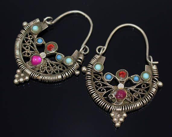 Silber Ohrringe Vintage Ethno Nomaden Ohrschmuck Handarbeit