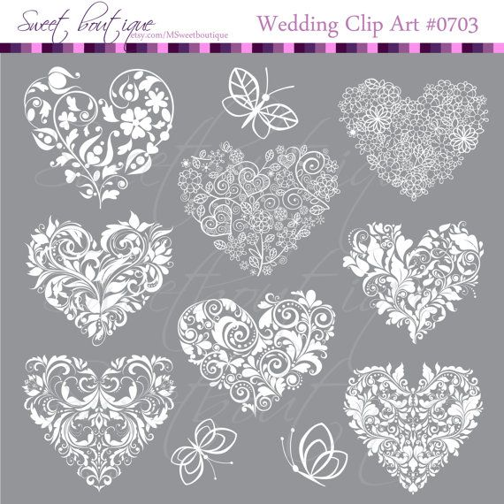 WHITE Heart Digital Clipart  Frames Clip Art by MSweetboutique