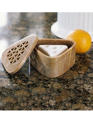 Soapstone box with 2 fruit fly traps - attractive and non-toxic gardeners.com
