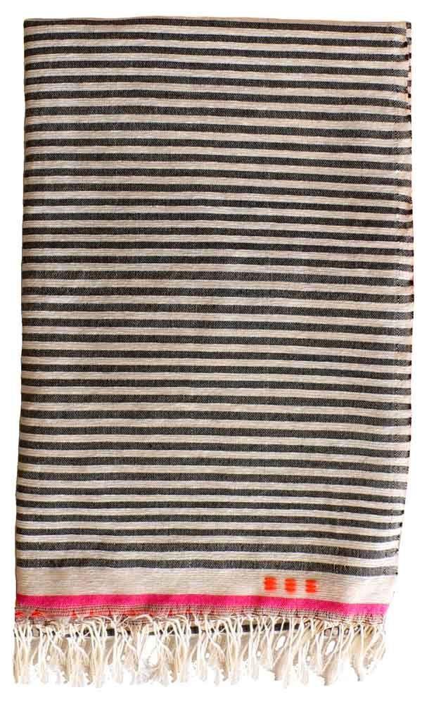 =: Turkish Towels, Stripes Blankets, Pink Stripes, Handwoven Bedspreads, Design Caves, Black And White Blankets, Stripes Throw, Throw Blankets, Beds Ideas