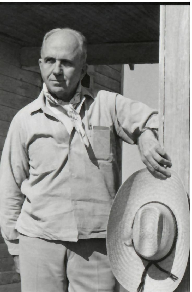 james a michener photos | James A. Michener, with scarf around his neck, straw hat in hand and ...