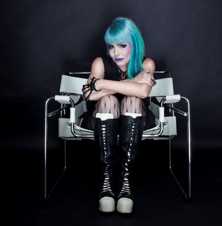 I did a photoshoot recently with @Leather&Lace Creative. Make-up & hair @AmeliaArsenic #bluehair #goth