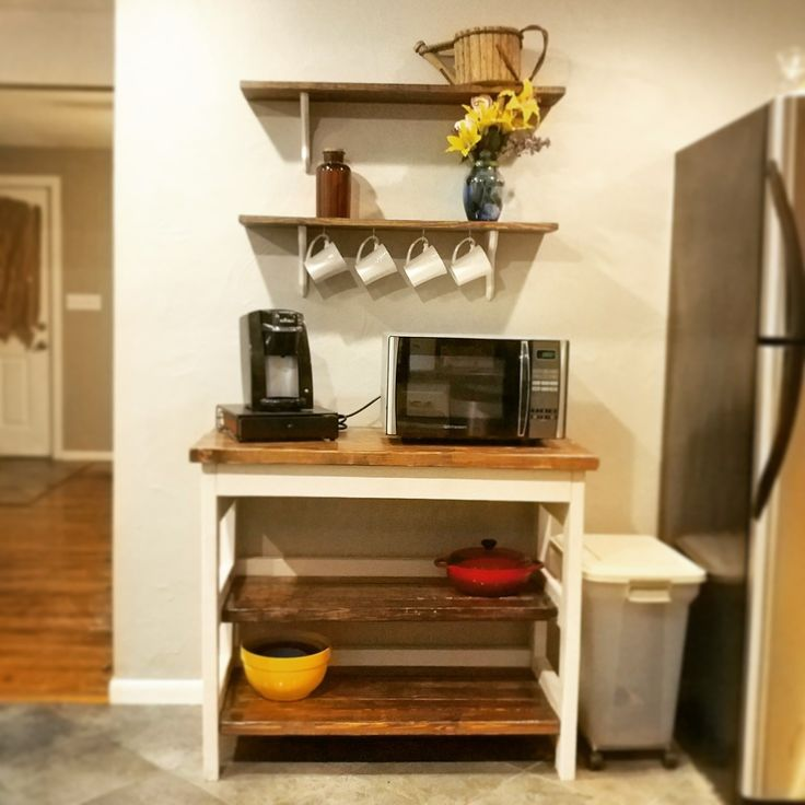Diy kitchen shelves and microwave stand #farmhouse