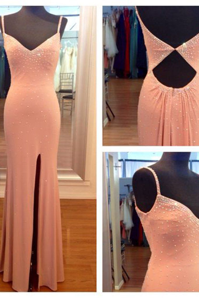 Orange chiffon prom dress, sparkly prom dress, long prom dress with straps