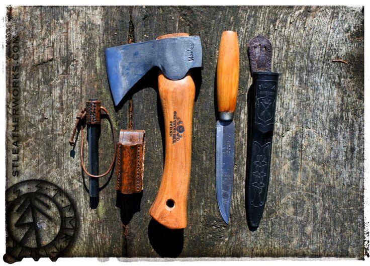 "The basic bushcraft kit. Mora knife, Gransfors Bruk Kubben axe and a 5"" ferrorod in a leather sheath from STLeatherworks.com"