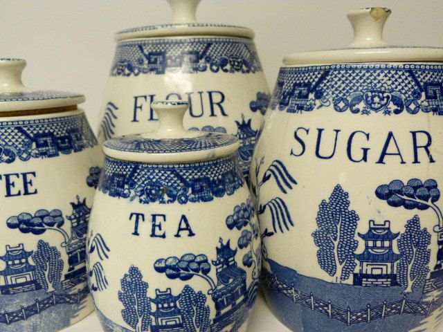 Vintage four piece blue and white canister set / Willow / sugar / tea / coffee / flour. $90.00, via Etsy.