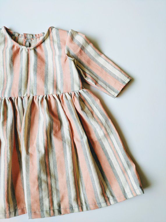 263c38e41568c Pink Easter Dress, Living Coral, Striped Easter Dress, Linen Striped ...