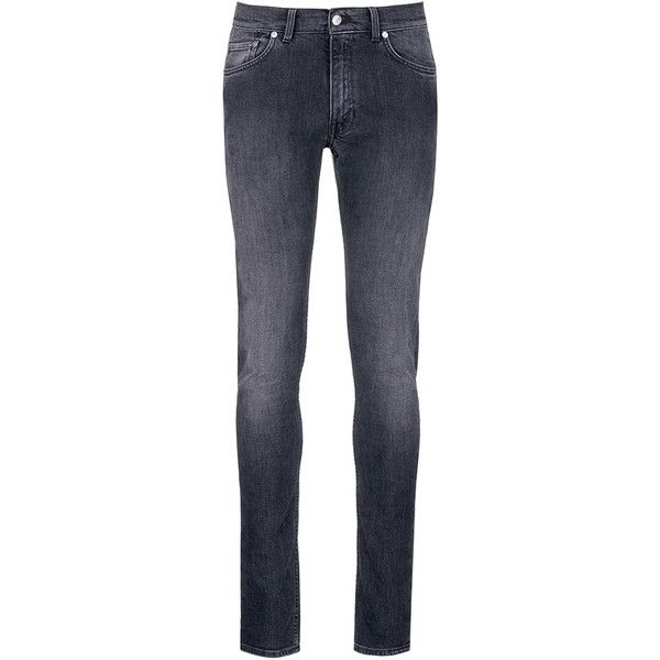Acne Studios 'Ace' light wash skinny jeans ($270) ❤ liked on Polyvore featuring men's fashion, men's clothing, men's jeans, grey, mens grey jeans, mens gray jeans, mens super skinny stretch jeans, mens grey skinny jeans and mens skinny fit jeans