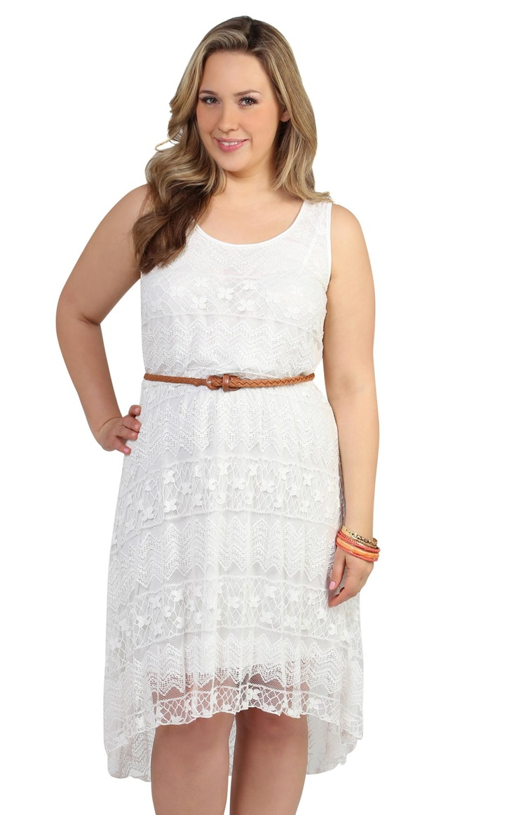 plus size tank dress in all over lace with cognac belt
