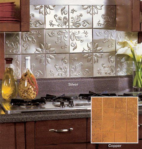 Peel and stick metal backsplash silver embossed tin tiles 6 x 6 set of 30 6 x 6 silver - Silver tin backsplash tiles ...
