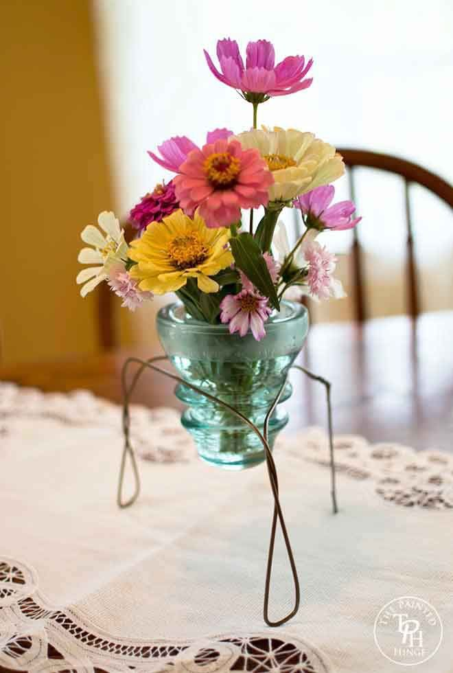 Glass Electrical Insulator Vase Stand Tutorial from The Painted Hinge