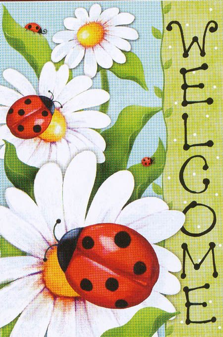 """Red Ladybugs on White Daisy Flowers Mini Small Summer Garden Flag NEW """"Welcome"""""""