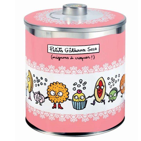 Boîte à Petits gâteaux secs - Rose - Derrière la Porte - DLP - Accessoire cuisine et rangement/Boîte métal et céramique - espritlogis-fr