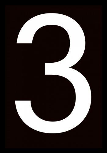 Number 3, Grafisk print til sort og hvid interiør