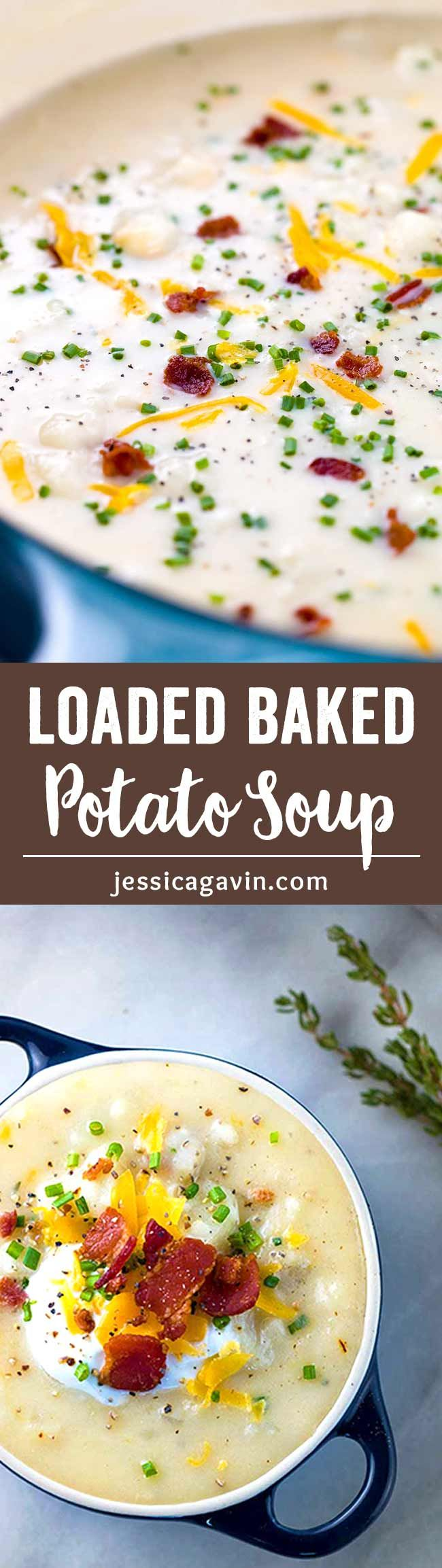 Loaded Baked Potato Soup with Bacon - Each spoonful is packed with savory bacon, potatoes, cheese and fresh herbs. via @foodiegavin