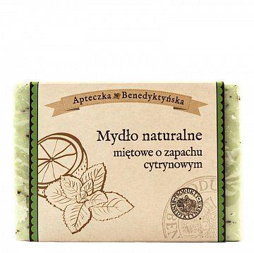 MYDŁO NATURALNE MIĘTOWE 130g - Produkty Benedyktyńskie    Mydło naturalne miętowe to połączenie orzeźwiającego zapachu świeżej mięty z naturalnym olejkiem cytrynowym. Olejek cytrynowy charakteryzuje się długotrwałym dz...