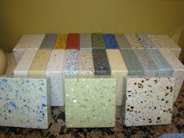 Recycled Glass Countertops, I Like The Blue/green And Light Green In Front.