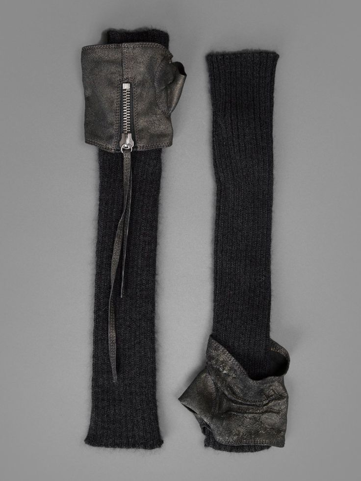 Isabel Benenato zipped leather and wool full length winter gloves #fashion #style #accessories