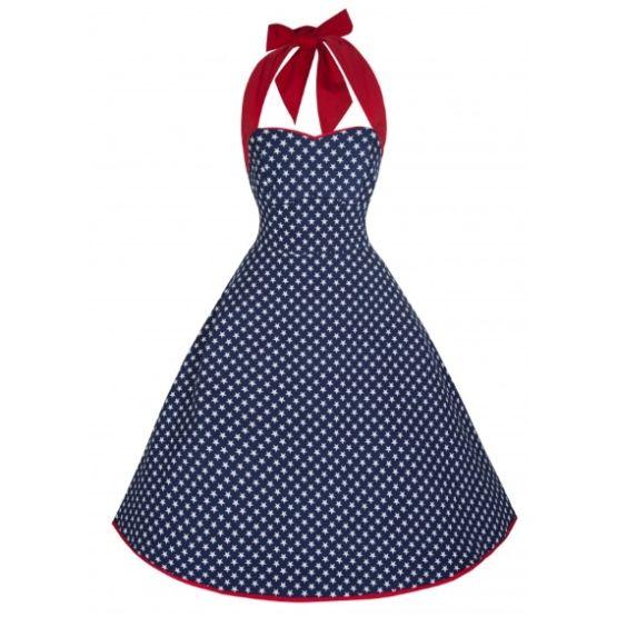 Lindy Bop Lori Ann Blue Stars Retro šaty ve stylu 50. let. Dokonalé a naprosto jedinečné americké krásky, ve kterých můžete vyrazit na rande se svým panem božským, zatančit si, na kafe s kamarádkou, na večírek s přáteli, prostě kamkoli se vám zachce, protože díky nim všude budete hvězdou večera! Tmavě modré poseté bílými hvězdičkami s širší červenou vázačkou za krk. Úžasný a velmi příjemný materiál (97% bavlna, 3% elastan) se přizpůsobí vašemu tělu a dokonale padne.