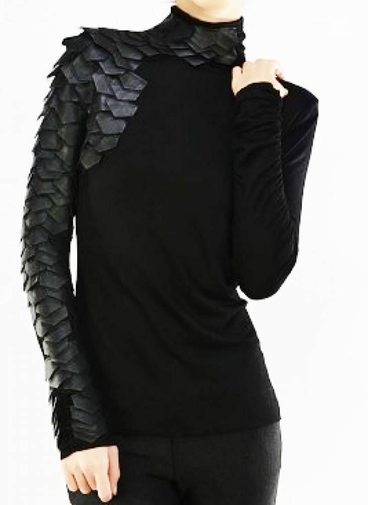 """Couture Black Leather """"The Raven"""" Knit Long Sleeve Smock Tunic/Top"""