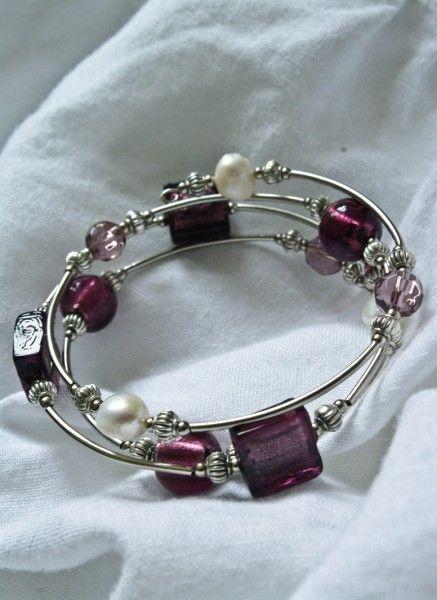 memory wire braclets | Freshwater Pearl, Silver Memory Wire Bracelet