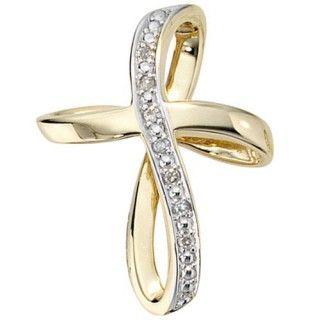 Anhänger Kreuz mit 7 Diamanten Brillanten 585 Gold Gelbgold Goldkreuz Damen