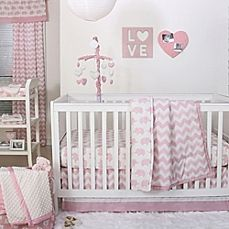 image of The Peanut Shell® Chevron Crib Bedding Collection in Pink