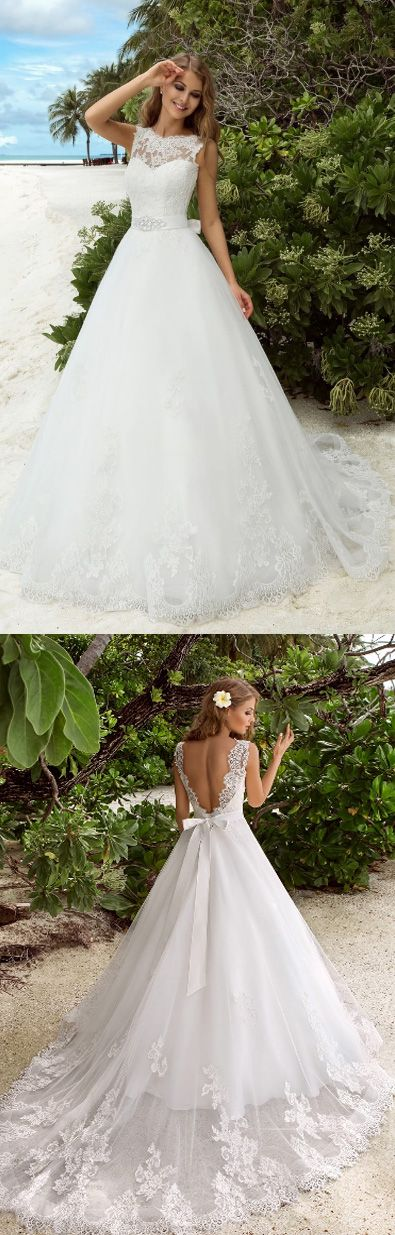 Sleeveless Wedding Dresses, Tulle Wedding dresses, Wedding Dresses Lace, Long Wedding Dresses, Lace Wedding dresses, White Lace Wedding dresses, White Lace dresses, Wedding Dresses 2017, Long White dresses, White Long Dresses, Long Lace dresses, White Sleeveless Wedding Dresses, 2017 Wedding Dresses White Lace Bowknot Lace-up Tulle