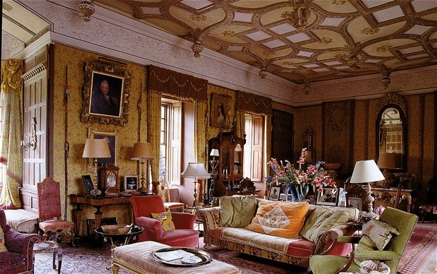 The King James I Room is hung with golden silk from a design woven for Chatsworth. Chillingham Castle, Northumberland.  Photo James MacDonald