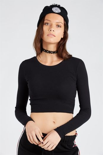 RIB LONG SLEEVE ROUND NECK CROP TOP