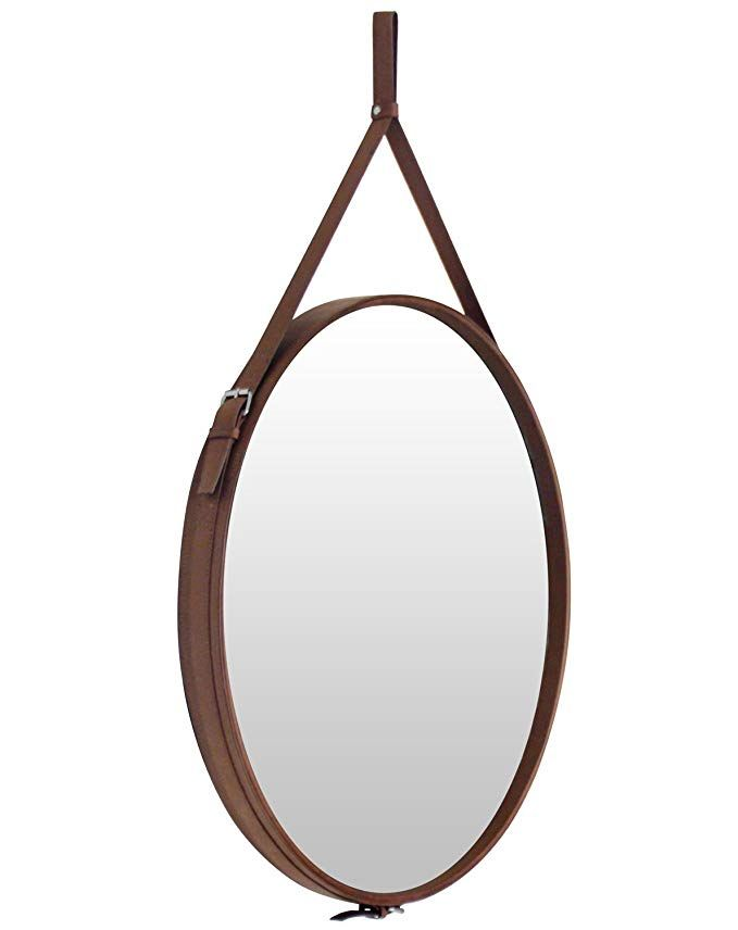 Round Hanging Decorative Wall Mirror With Pu Leather Frame And Hanging Strap Silver Hardware Hanger Hook Bro Hanging Wall Mirror Mirror Wall Decor Mirror Wall