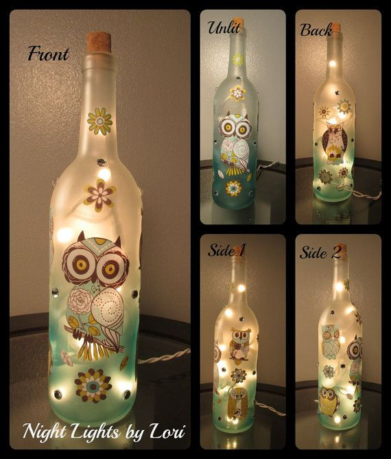 Owl Wine Bottle Night Light by NightLightsbyLori on Etsy