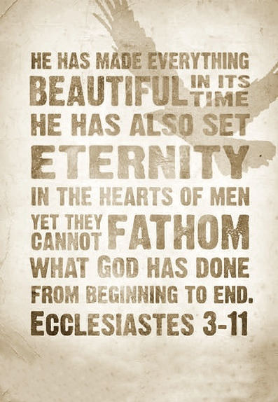 Ecclesiastes 3:11 explains why we yearn for ETERNAL LIFE, why we long to live forever on this earth.  SOON God will bring to ruin those ruining Earth. Rev. 11:18