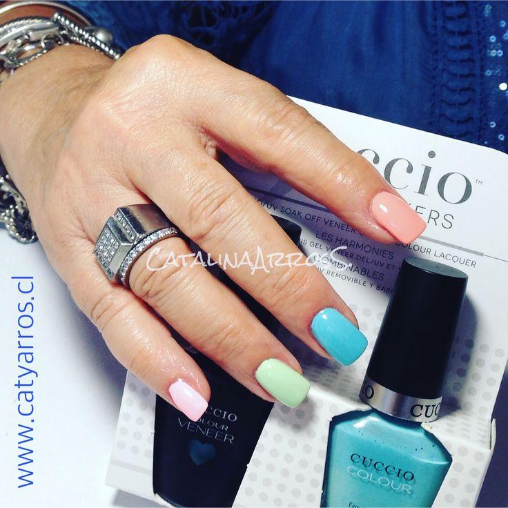 """Uñas Acrílicas con esmaltado multicolor 🌈🏖☀️Clienta: Roxamy (Esmalte foto: Blue Hawaiian"""" de Cuccio)"""