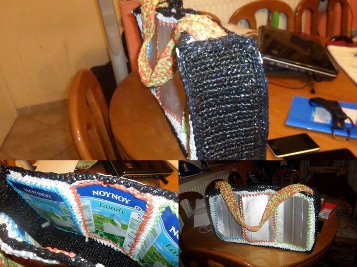 crochet plastic bags and tetrapack for grocery συσκευασία tetrapack και πλαστικές σακούλες για πάτο και πλαϊνά. Τσάντα για ψώνια