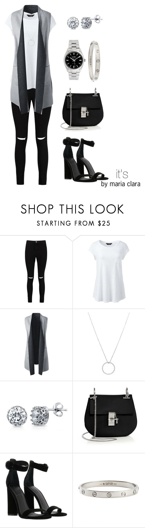 """""""It's by Maria Clara/ colete/ fashion/ look/ women's fashion"""" by itsbymariaclara ❤ liked on Polyvore featuring Boohoo, Lands' End, Roberto Coin, BERRICLE, Chloé, Kendall + Kylie, Cartier, Rolex and plus size clothing"""
