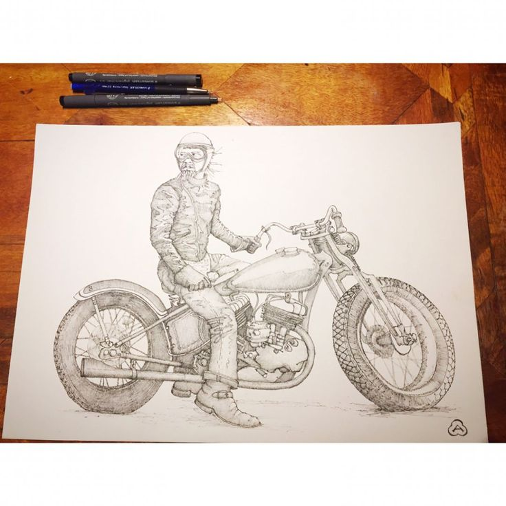 "Sitting here night after night doing cross hatching I am thinking that there must be fifty thousand odd little lines, probably more, that go into one of these drawings. Built up layer by layer until I feel they are right.   Little lopsided and 18"" front wheel that look like 21's other than that I reckon it's a pretty bloody good job.   What do you think?  .  .  From a found photo of @swastika_yasu .  .  #TheRaceOfGentlemen   #TROG  #SeriouslyCoolLookingDude  #SofaSideChickenScratchings"