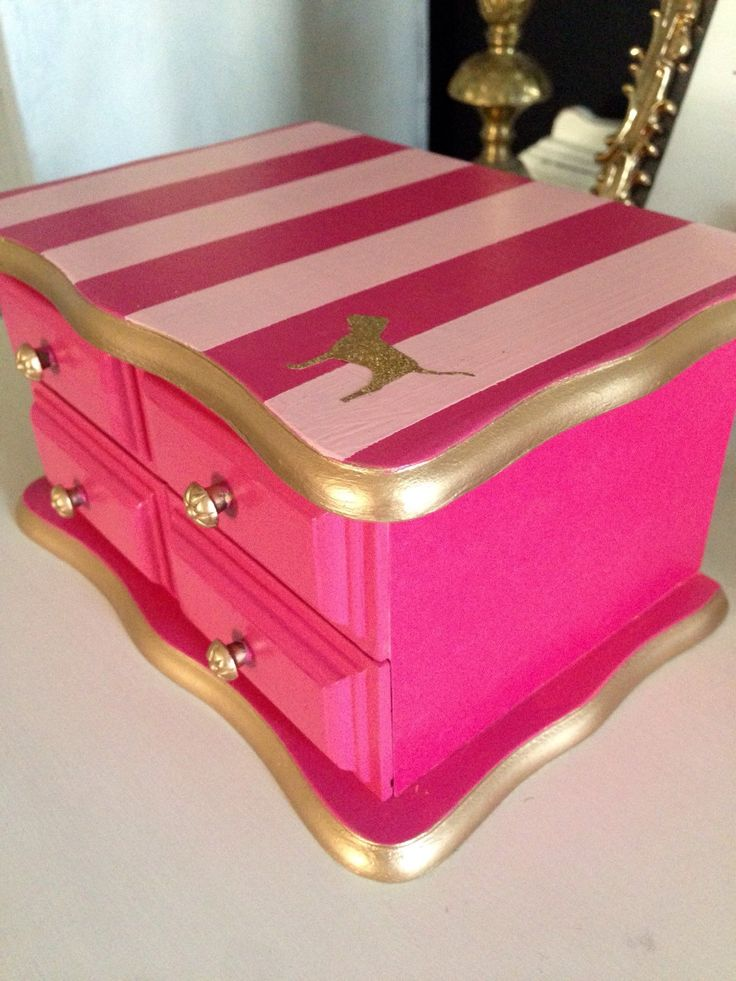 Custom Vintage Jewelry Box Hand Painted & Decoupaged Pink by ColorfulHomeDesigns on Etsy