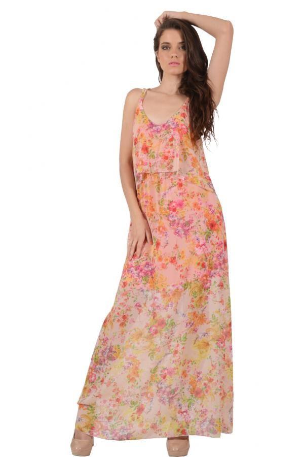 Φόρεμα εμπριμέ διαφάνεια σε ριχτή γραμμή με λάστιχο στην μέση και χαμηλή πλάτη με χιαστή τιράντες