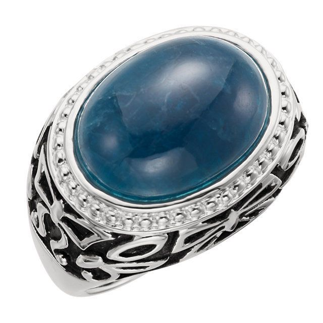 NWT $90 Solid Sterling Silver 7.450 Ct 15X11 MM Genuine Apatite Cabochon Ring 7 #bgb #ArtisanDesign